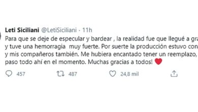 Photo of Leticia Siciliani contó por que se ausentó de Masterchef Celebrity